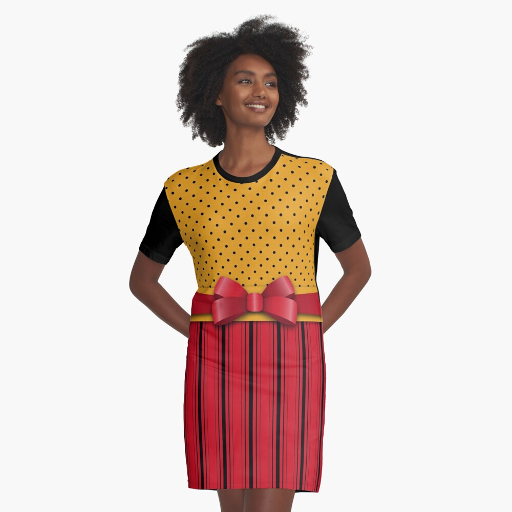 Trendy Red Bow Ribbon Yellow Polka Dots Stripes  Graphic T-Shirt Dress