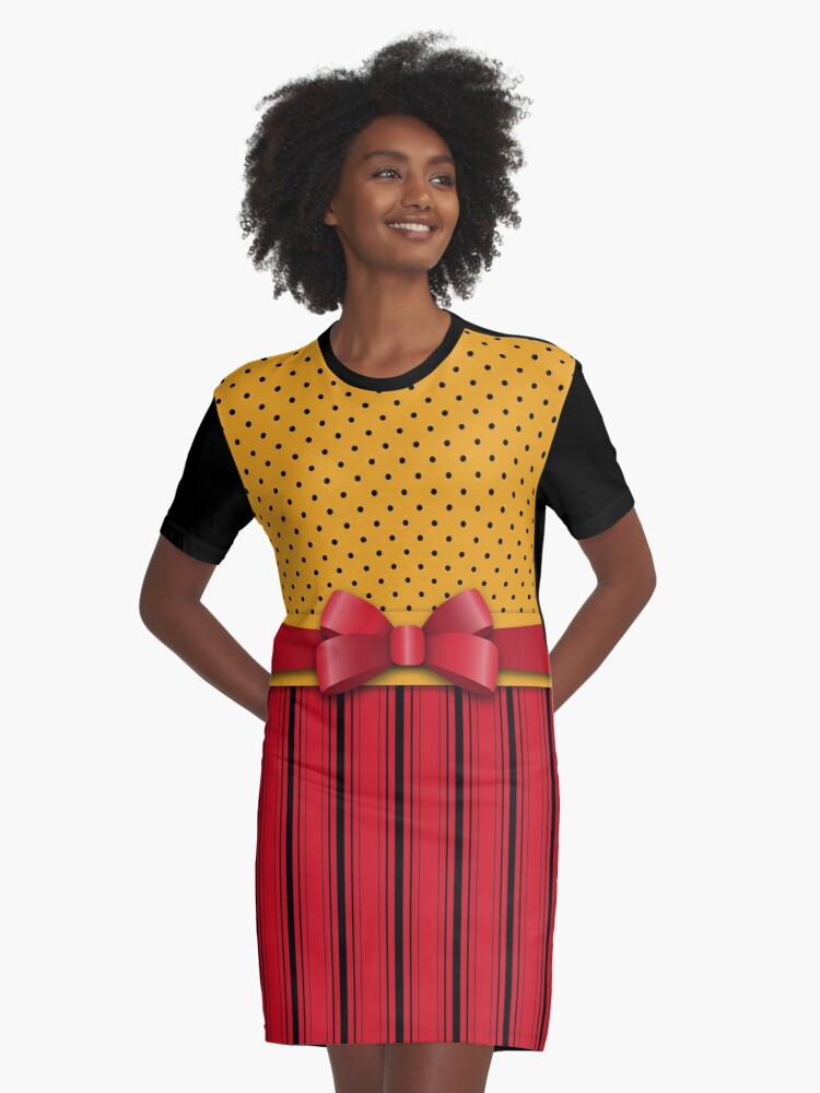 Trendy Red Bow Ribbon Yellow Polka Dots Stripes  Graphic T-Shirt Dress Front