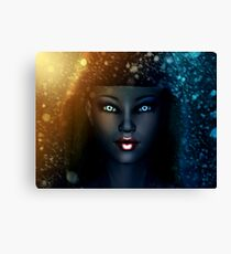 Girl in snowstorm 2 Canvas Print