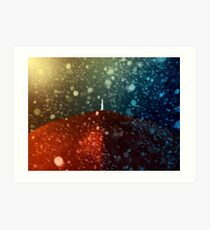 Red umbrella in snowstorm Art Print