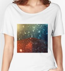 Red umbrella in snowstorm Women's Relaxed Fit T-Shirt