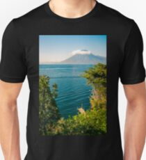 View of Volcano San Pedro with a crown of clouds in Guatemala T-Shirt