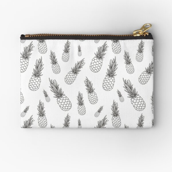 Black and White Pineapple Pattern Zipper Pouch