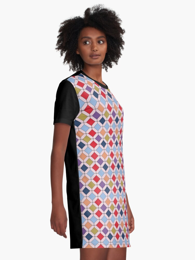 Alternate view of  Trendy Autumn Fall Fashion Color Palette Geometric Pattern Graphic T-Shirt Dress