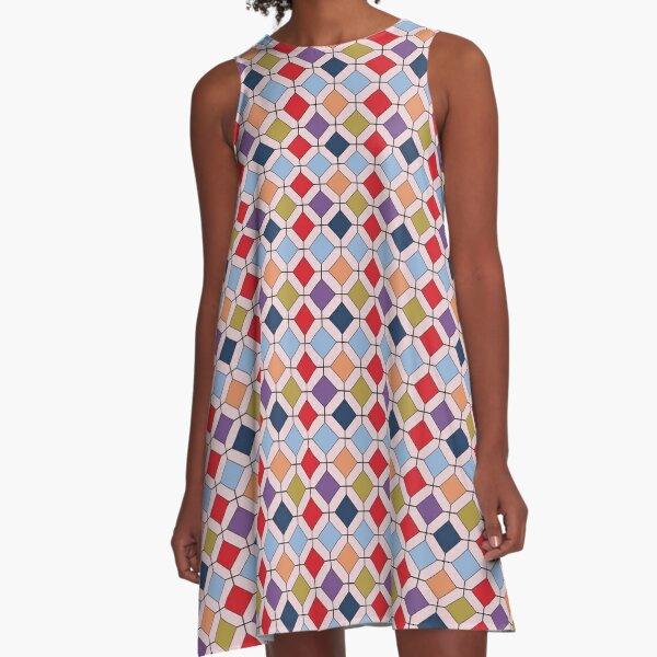 Trendy Autumn Fall Fashion Color Palette Geometric Pattern A-Line Dress