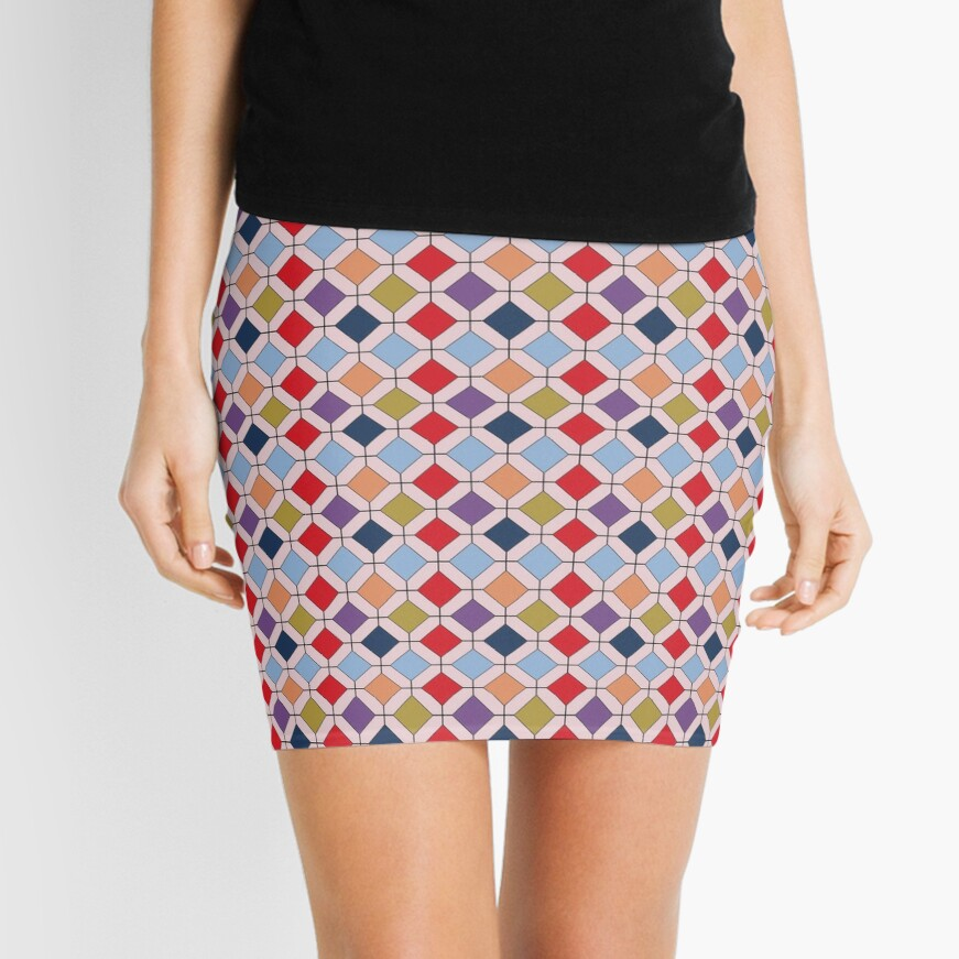 Trendy Autumn Fall Fashion Color Palette Geometric Pattern Mini Skirt
