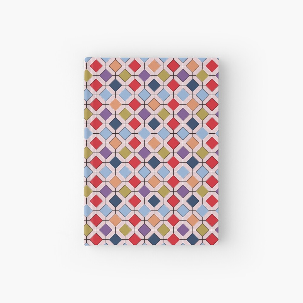 Trendy Autumn Fall Fashion Color Palette Geometric Pattern Hardcover Journal