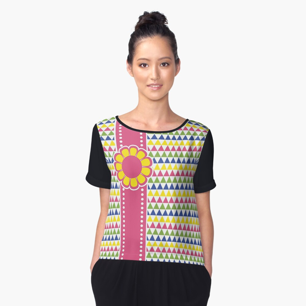 Colorful Geometric Pyramid Flower Ribbon Yellow Pink Green Women's Chiffon Top Front