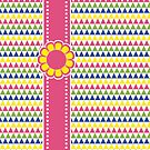 Colorful Geometric Pyramid Flower Ribbon Yellow Pink Green by Beverly Claire Kaiya
