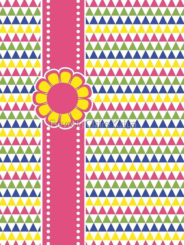 Colorful Geometric Pyramid Flower Ribbon Yellow Pink Green by beverlyclaire