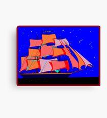 A Clipper Ship at Sea Full Sail at Night under the Stars Canvas Print