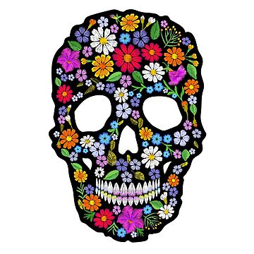 Embroidery a skull of flowers on a black background with white stripes. by LuckyStep