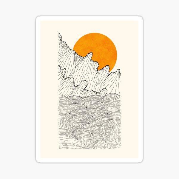 The great sun over the sea cliffs  Sticker