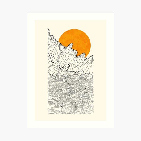 The great sun over the sea cliffs  Art Print