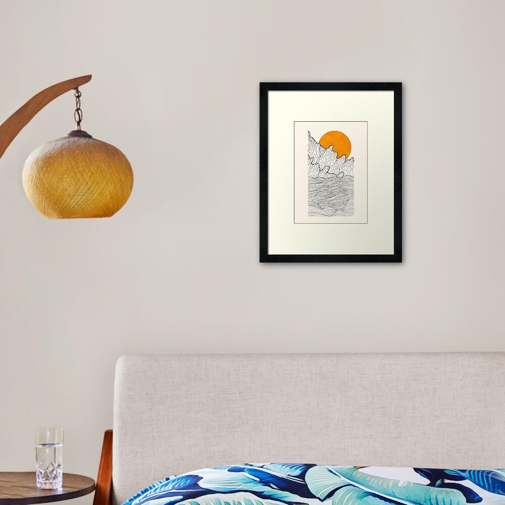 The great sun over the sea cliffs  Framed Art Print