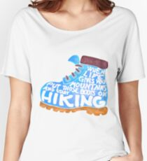 Hiking Boot - Blue Women's Relaxed Fit T-Shirt
