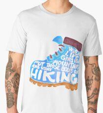 Hiking Boot - Blue Men's Premium T-Shirt