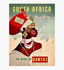 South Africa, woman, airline, vintage travel poster Photographic Print