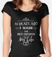 Funny 14th Wedding Anniversary Shirts For Couples. Funny Wedding Anniversary Gifts Women's Fitted Scoop T-Shirt