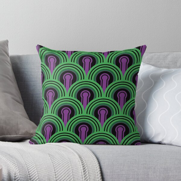 Overlook Hotel Carpet from The Shining: Purple/Green Throw Pillow