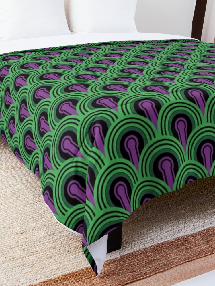Alternate view of Overlook Hotel Carpet from The Shining: Purple/Green Comforter