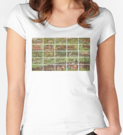 Series of 25 images creating one image of a horse race derby day Women's Fitted Scoop T-Shirt
