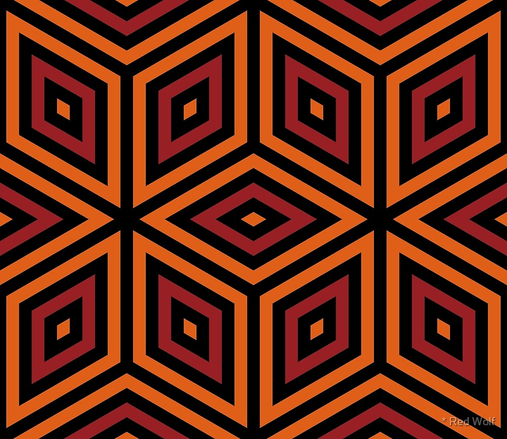 Geometric Pattern: Nested Cubes: Orange/Red by * Red Wolf