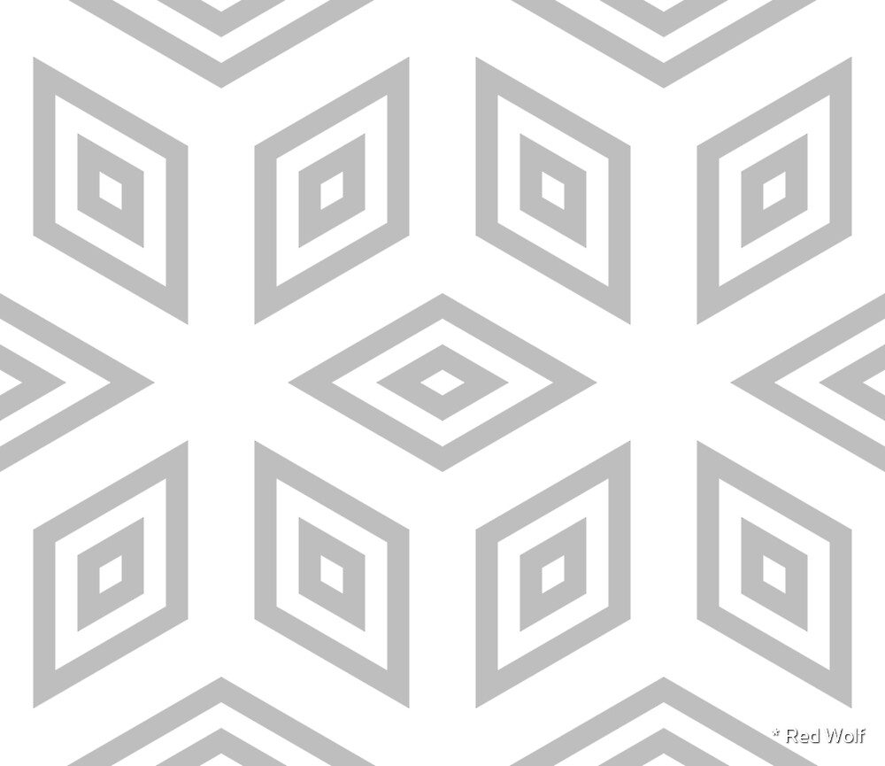 Geometric Pattern: Simple Nested Cubes: Grey by * Red Wolf
