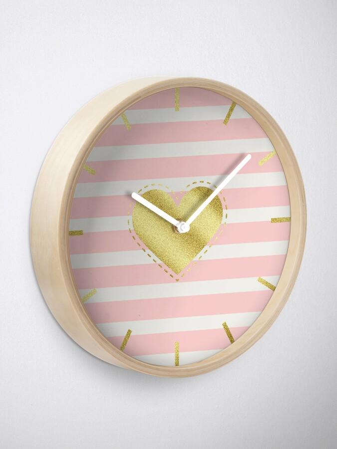 Alternate view of Heart Trendy Blush Pink Stripes Gold Glitter Stitches  Clock