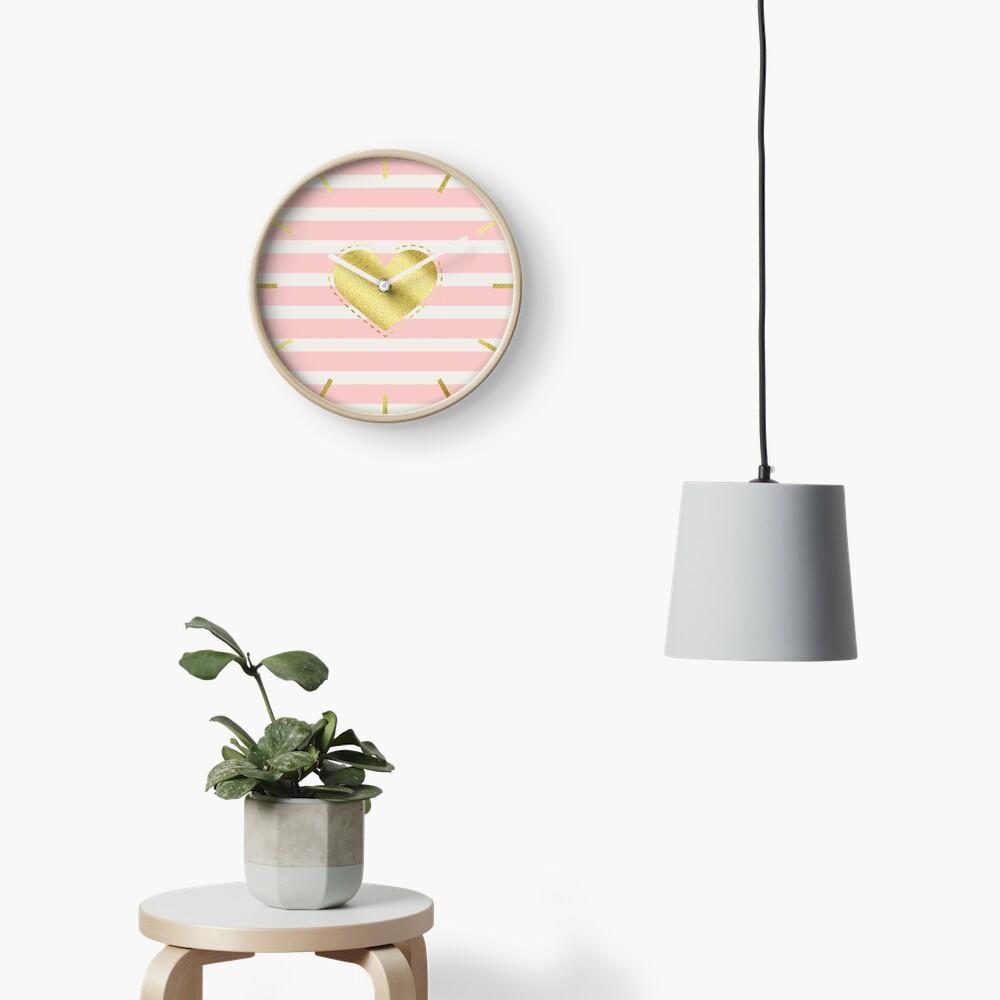Heart Trendy Blush Pink Stripes Gold Glitter Stitches  Clock
