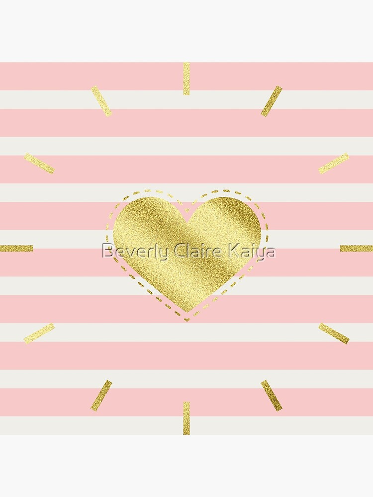 Heart Trendy Blush Pink Stripes Gold Glitter Stitches  by beverlyclaire