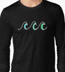 Simple beach waves wavy design Long Sleeve T-Shirt