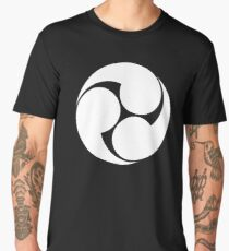 Tomoe, Japan, Japanese, Shinto symbol, Plain & Simple, White on Black Men's Premium T-Shirt