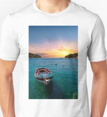 Blue Boat on Blue Water T-Shirt