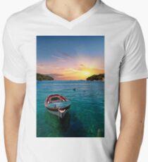 Blue Boat on Blue Water Men's V-Neck T-Shirt
