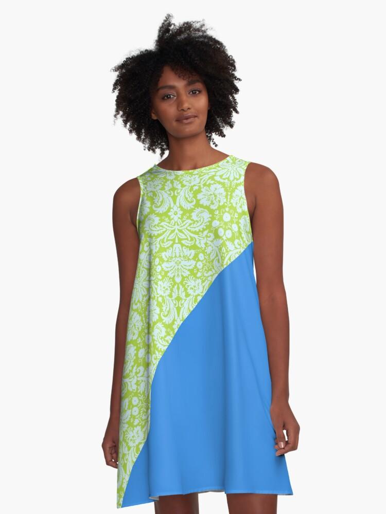 Trendy Resort Fashion Lime Green Bleu de France A-Line Dress Front