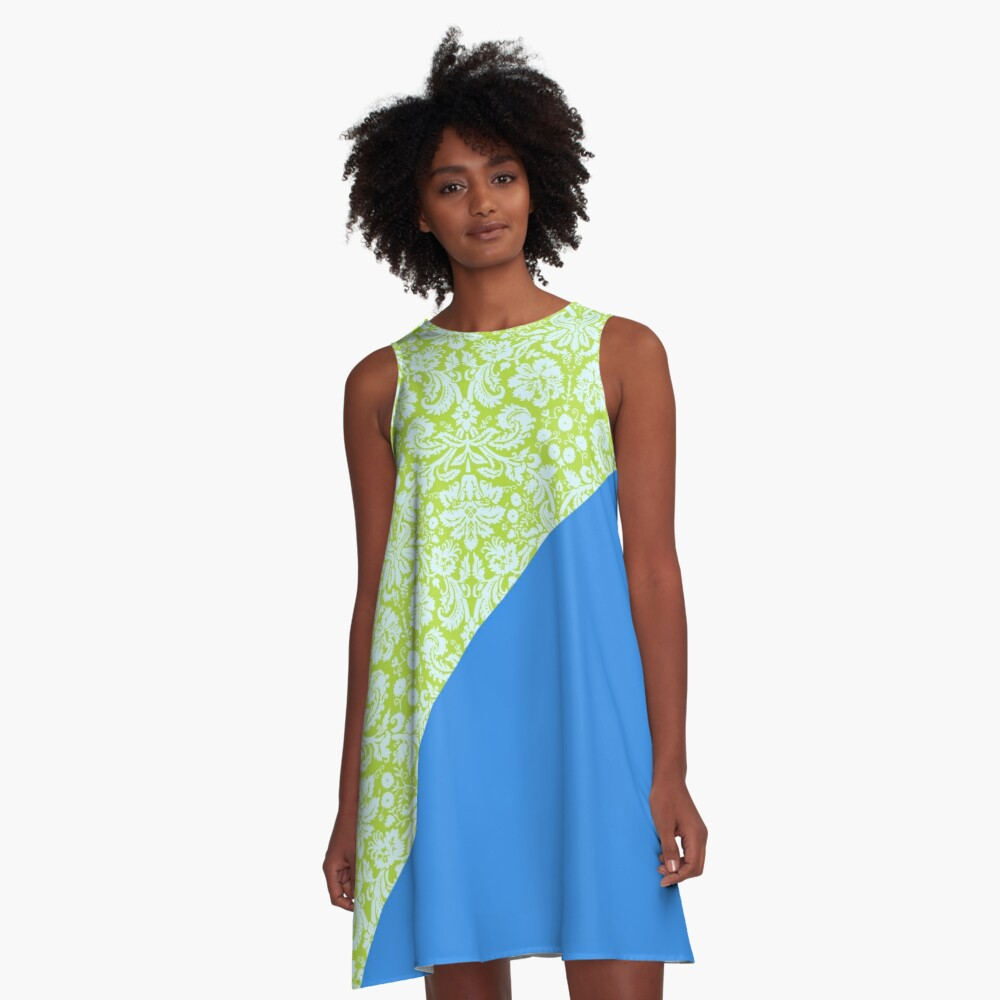 Trendy Resort Fashion Lime Green Bleu de France A-Line Dress Front