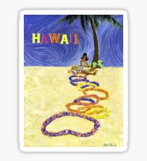 Hawaii, Hula girl with exotic flower wreaths, travel poster Sticker