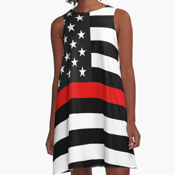 Thin Red Line American Flag A-Line Dress