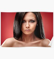 Sexy glamour brunette on red background Poster