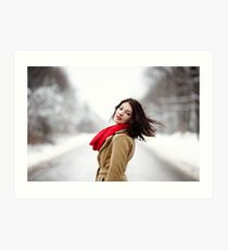 Beautiful brunette with hair blown by wind in the winter Art Print