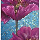 Pink Poppies on Blue Background by Cherie Roe Dirksen