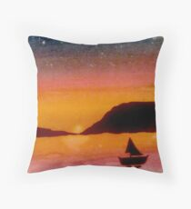 A night time sail Throw Pillow
