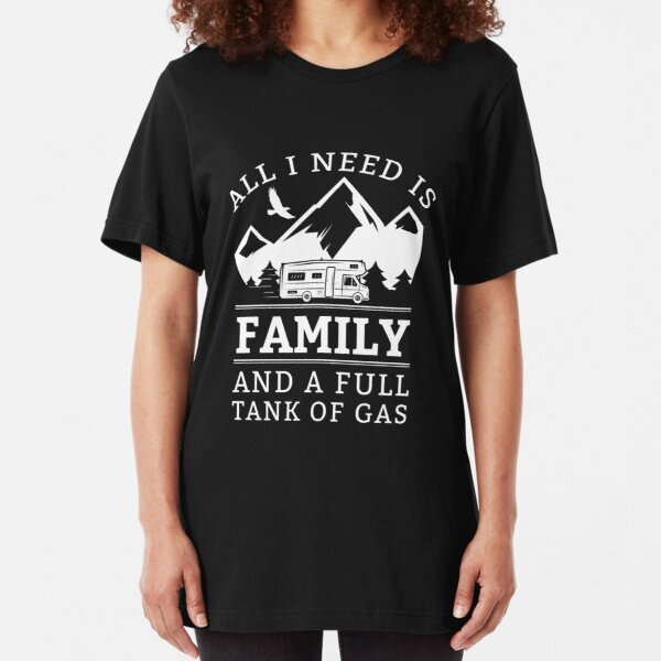 Mad Over Shirts All I Need is Family and A Full Tank of Gas Unisex Premium Racerback Tank top
