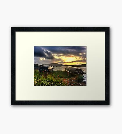 Curraghs In A Portmagee Sunset Framed Print