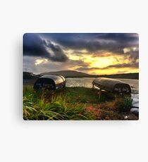 Curraghs In A Portmagee Sunset Canvas Print