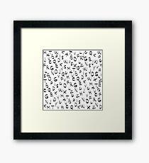 Alphabet Pattern Black Letters Framed Print