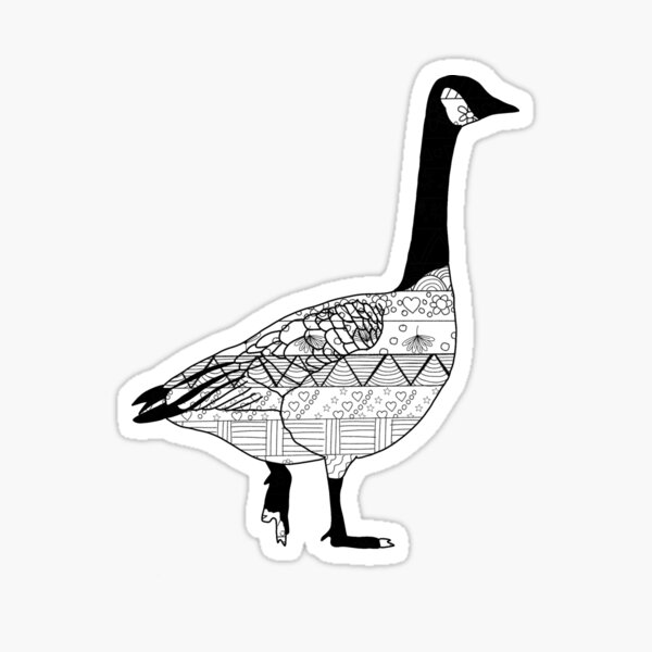 Black and White Zentangle Canadian Goose Sticker