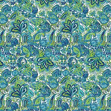 Green-Blue Paisley  by kowenart