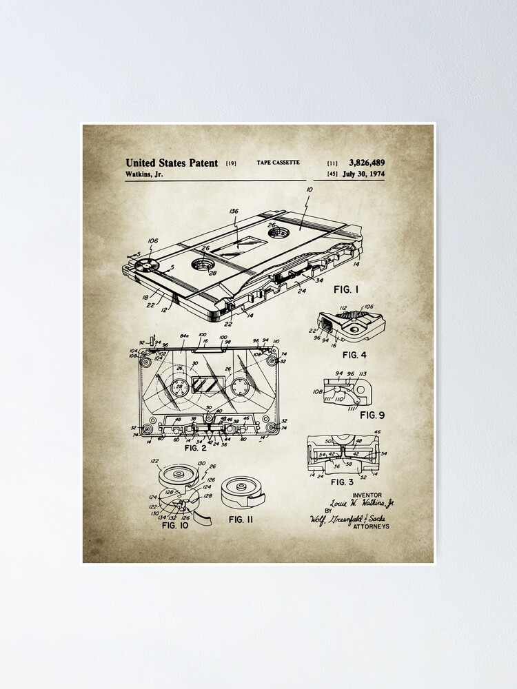 Alternate view of Cassette Tape Patent Poster
